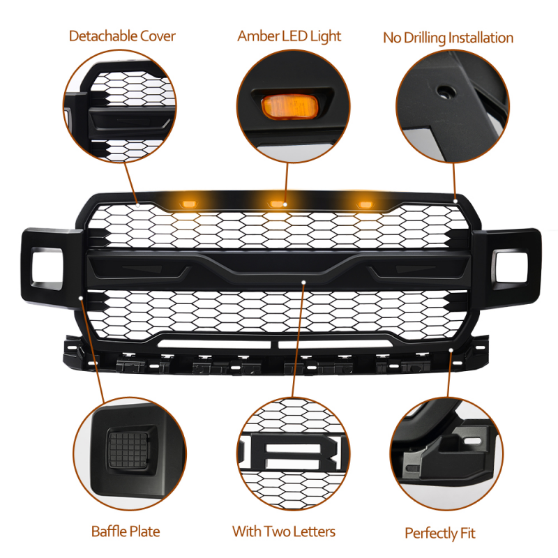 Fits 2018 2019 2020 FORD F150 Front Grille - Matte Black ABS Raptor Style with 3 Amber LED lights