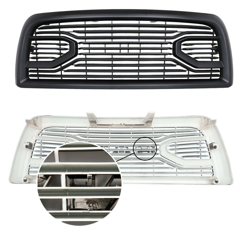 Front Upper Replacement Grille Fits 2013-2018 DODGE RAM 2500 3500 Matte Black, ABS Plastic W/All Letters