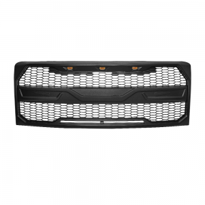 2015 2016 2017 FORD F150 MONSTER UPPER GRILLE SPORTS RAPTOR- ABS PLASTIC MATTE BLACK WITH 3 HEAD LED LIGHTS